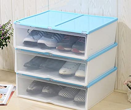 XWG Storage Box Moisture Proof Thick Transparent Shoe Box Drawer Style  Plastic Shoe Storage