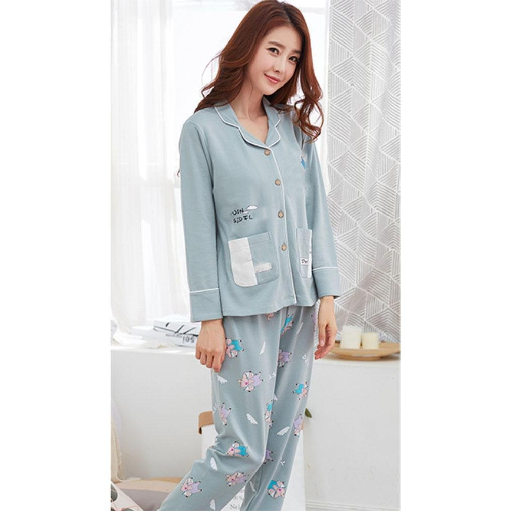 MOXIN Women Long Sleeve Cotton Pajamas Casual Home Clothing Set Autumn and winter , m (100% pure cotton) , B