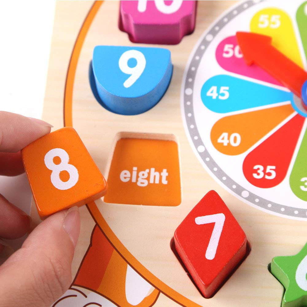 Jelacy Wooden Shape Sorting Clock Developmental Toy Early Learning Educational Toy Gift for 3 Year Olds Yellow