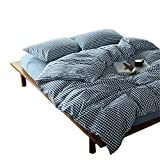 OTOB 3 Piece Simple Geometric Blue and White Checkered Plaid Pattern Bedding Sets Collections,Modern Reversible Gingham Grid Cotton Anti Allergy Duvet Cover with Sham Sets for Home Decor,Queen/Full