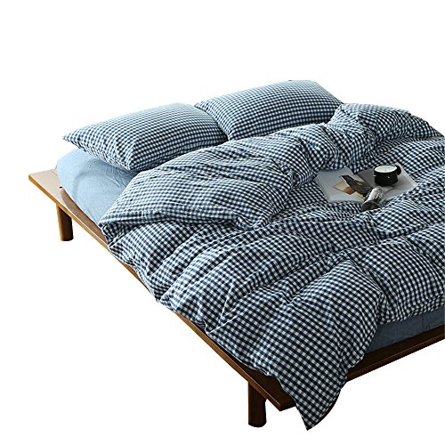 Gingham Twin Duvet Cover - OTOB Duvet Cover Twin Size with Sham Sets for Home Decor 3 Piece Simple Geometric Blue and White Checkered Plaid Pattern Bedding Sets Collections, Modern Reversible Gingham Grid Cotton Anti Allergy