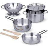 Melissa & Doug Stainless Steel Pots and Pans Pretend Play Kitchen Set for Kids, Multi Color (8 Pieces)