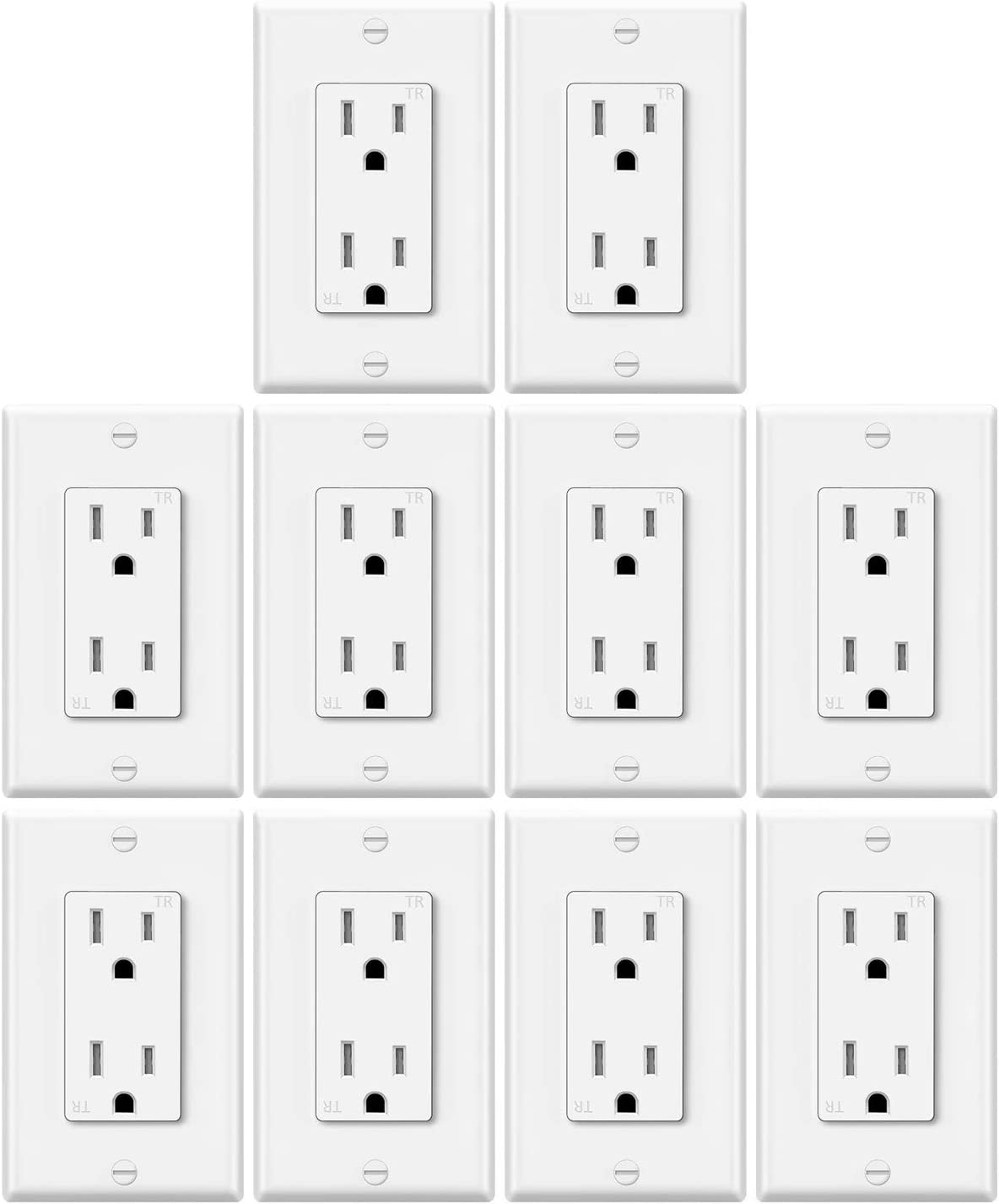 10 Pack - ELECTECK 15 Amp Decor Receptacle Outlet, Tamper-Resistant Wall Socket, Commercial and Residential, UL Listed