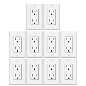 10 Pack - ELECTECK 15A Decor Receptacle Outlet with Wallplate, Tamper-Resistant Wall Socket, Grounding, UL Listed