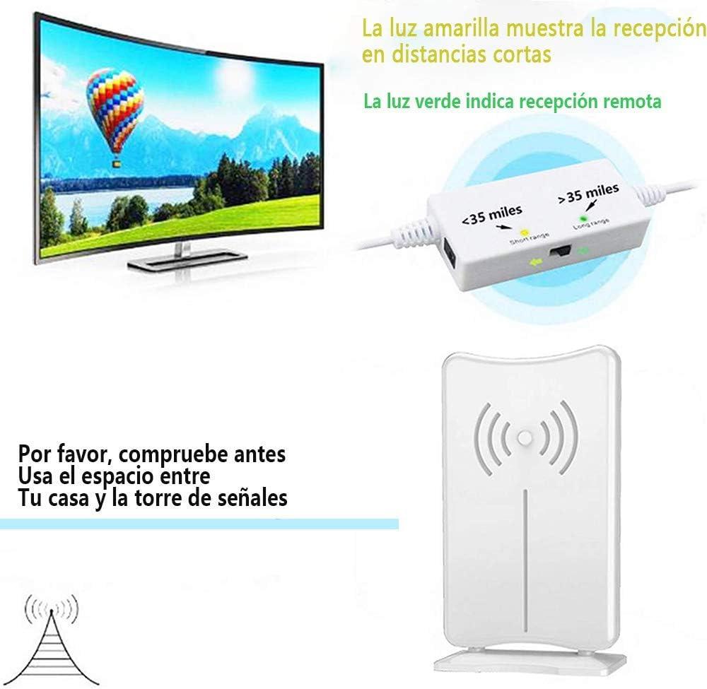 Antena Interior TV,Antena de TV Digital TDT DVB-T/T2 HD para Interiores,Antena de TV de Alcance de 200KM con Amplificador de Señal,Adecuada para ...