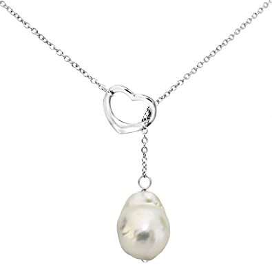 baf4b3c4d60d4 Amazon.com: Sterling Silver Chain Freshwater Cultured Baroque White ...