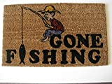 Geo Crafts G144 PVC Backed Coco Doormat, Gone Fishing