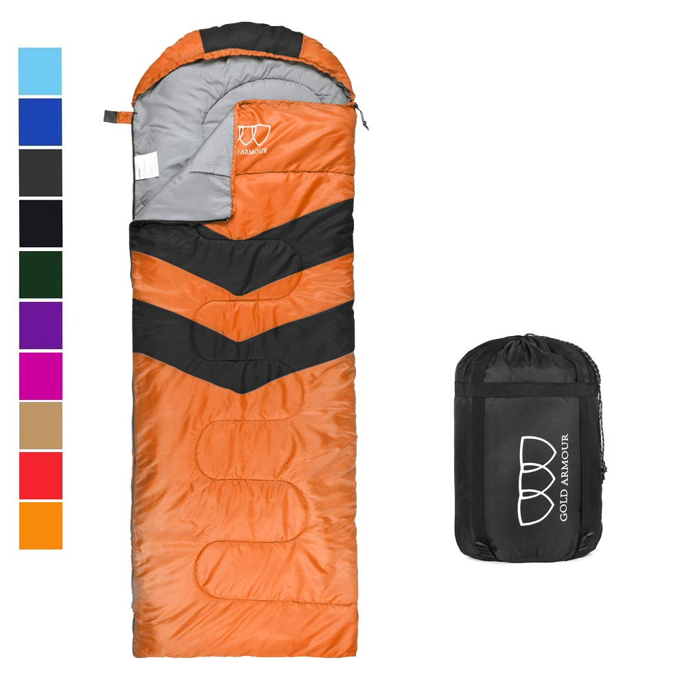 Sleeping Bag - Sleeping Bag for Indoor & Outdoor Use - Great for Kids, Boys, Girls, Teens & Adults. Ultralight and Compact Bags for Sleepover, Backpacking & Camping (Orange / Black - Right Zipper) by Gold Armour