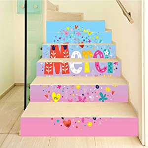 French Decor 3D Stair Stickers Decals-6Pcs/Set,Parisienne French Decor Merci Thank You Decor with Hearts and Flowers Print Stair Risers Stickers Removable Staircase Decals Mural Wallpaper for Home Dec