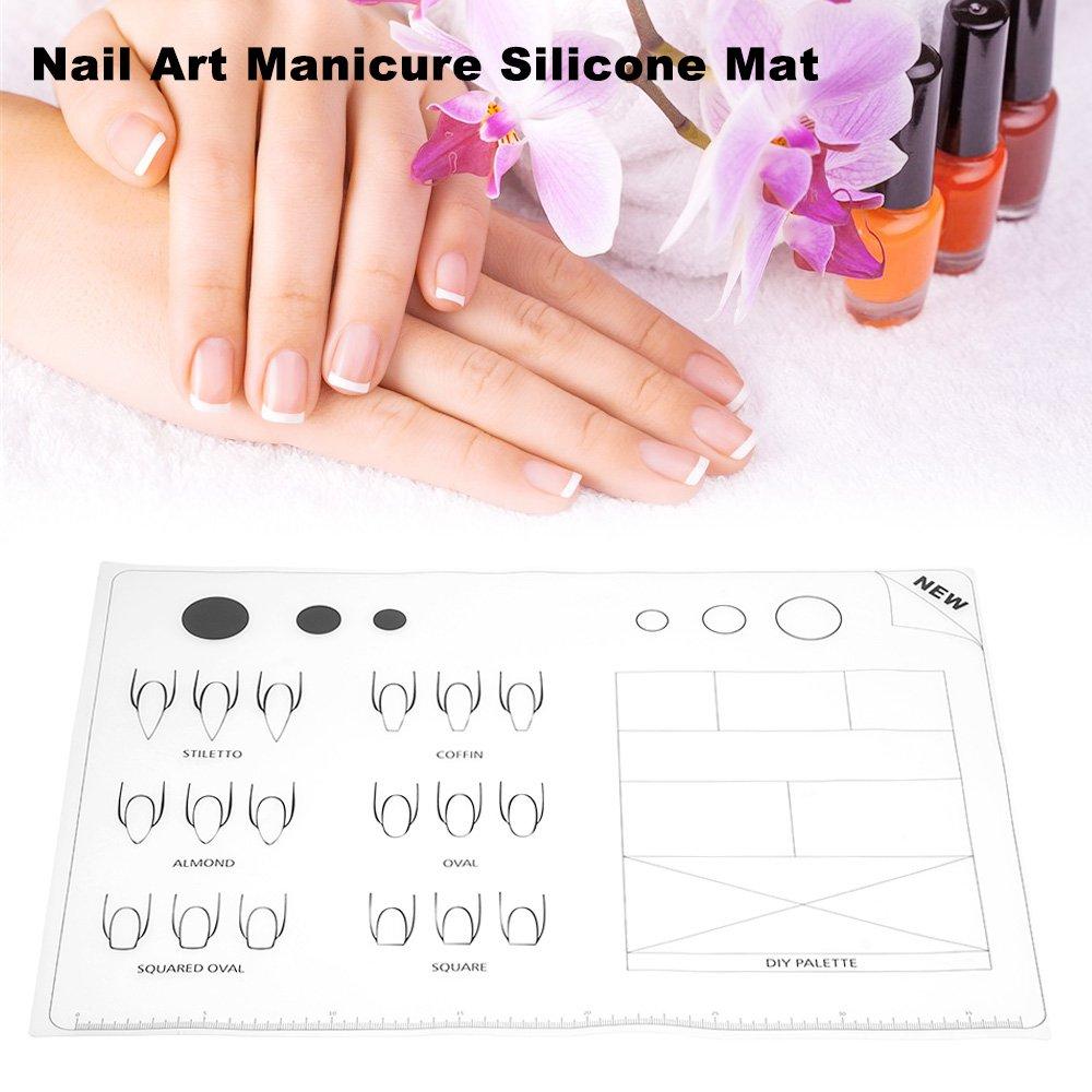 Amazon.com : Anself Nail Art Silicone Mat Foldable Washable Soft ...