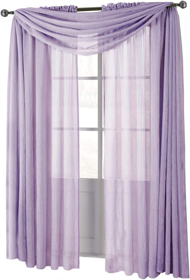 Solid Abri Rod Pocket, 50-Inch Wide x 120-Inch Long Crushed Sheer Curtain Panel, Lavender