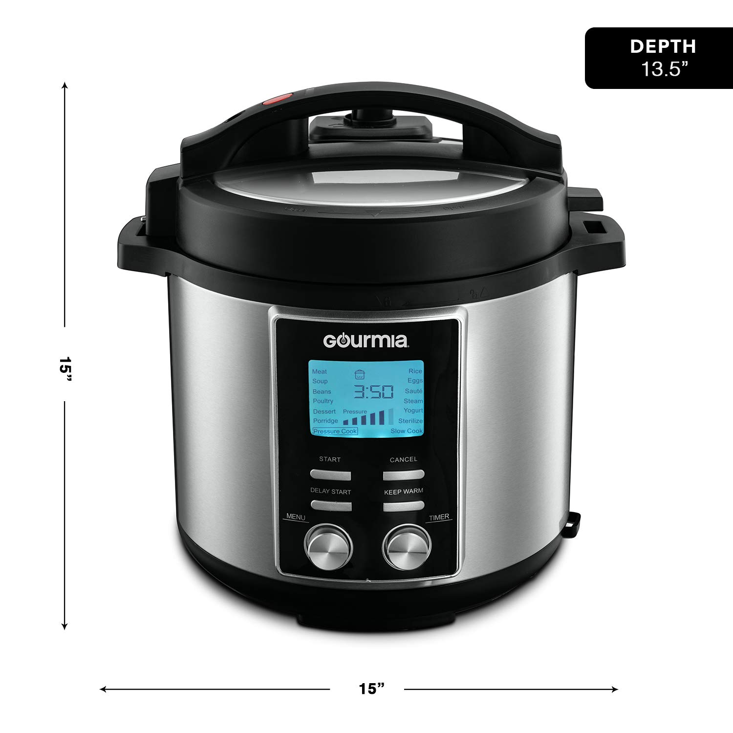 Gourmia GPC855 8 Qt Digital SmartPot Multi-Function Pressure Cooker | 15 Cook Modes | Removable Nonstick Pot | 24-Hour Delay Timer | Automatic Keep Warm | LCD Display | Pressure Sensor Lid Lock by Gourmia (Image #6)