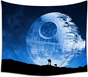 Jacoci Blue Death Star Wall Tapestry Hanging Cool Design for Bedroom Living Room Dorm Handicrafts Curtain Home Decor Size 50x60 Inches