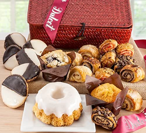 Dulcet Gourmet Food Gift Baskets- Includes: Black and Whites, Lemon Bundt Cake, Blueberry Muffin, Corn Muffin, Assorted Rugelach. Ideal Gift Idea!