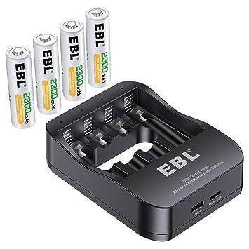 Amazon.com: EBL - Cargador de pilas AA recargables Ni-MH AA ...