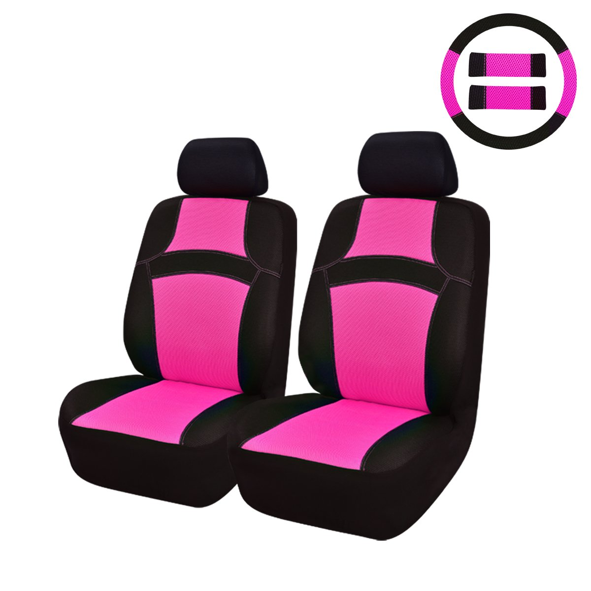NEW ARRIVAL- CAR PASS RAINBOW Universal Fit Car Seat Cover -100% Breathable With 5mm Composite Sponge Inside,Airbag Compatible (9pcs, Rose Pink) LJ