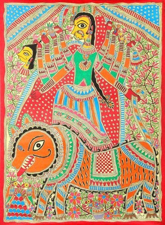 Goddess Durga - Madhubani Painting on Hand Made Paper Treated with Cow Dung - Folk Painting from The