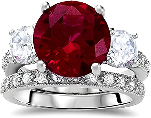 SVC-JEWELS Awesome 925 Sterling Silver Plated Solitaire Round Cut Pink Ruby Mens Wedding Band Ring-Shield Ring