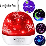Night Light for Kids,Baby Light Projector,Carousel,Space,Star,Ocean,4 Theme Colorful Projector for Girls Boys,Baby Gifts for 1-12 Years Old(4 Sets of Film)(White)