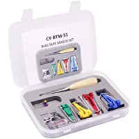 16 pcs Fabric Bias Tape Maker Kit for Sewing Quilting Awl and Adjustable Binder Foot with Case - 4 Different Sizes 6/8 / 12/25 mm