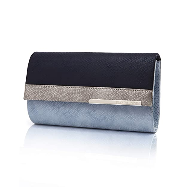 two the nines Women's Evening Bags Snakeskin Pattern PU Leather Clutches with Removable Thin Chain for Cocktail Parties, Blue
