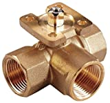 Johnson Controls VG1845AL Stainless Steel NPT Threaded End Connection Three-Way Ball Valves, 7.4 Cv Port, 1/2'' Size