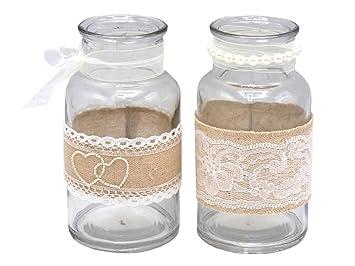 2 Vasen Glaser Spitze Creme Hochzeit Vintage Tischdeko Natur Jute