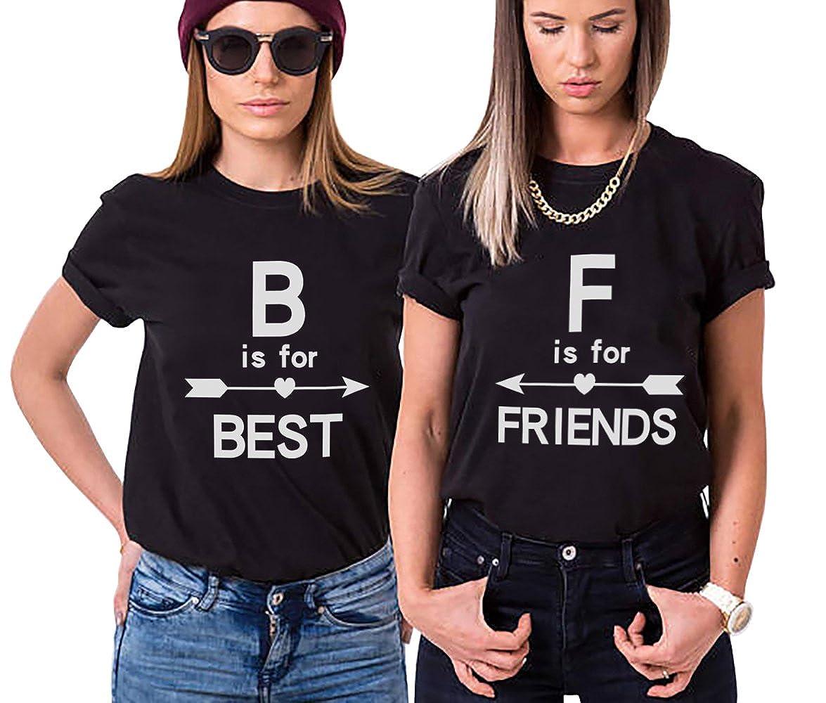 Best Friend 100% Cotone Shirt Stampa Coppia Sister T-Shirt Magliette Migliori Amici Estate Moda Elegante Casual Tumblr Graphic per Donna IT-YJ-BF6082
