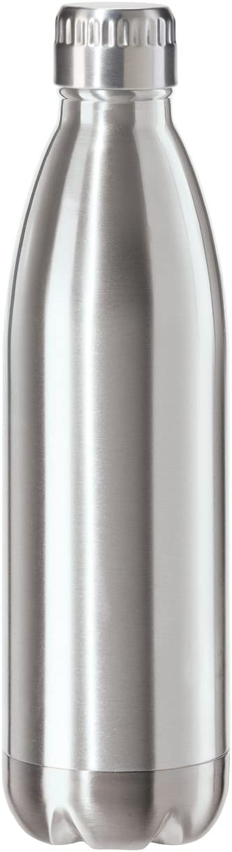 Oggi 8086.0 Stainless Steel Calypso Double Wall Sports Bottle with Screw Top (0.75 Liter, 25oz)-Satin Lustre Finish