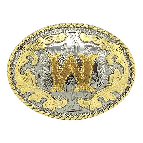 (Western Belt Buckle Initial Letters ABCDEFG to Y-Cowboy Rodeo Gold Large Belt Buckle for Men and Women (W))