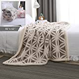 "Plush Throw Blanket –Super-Soft Shu Velveteen/Sherpa Throw Blanket for Bed/Couch/Sofa & Decorative -Ivory/Gray 82"" X 62"" (Two Layer Construction)"