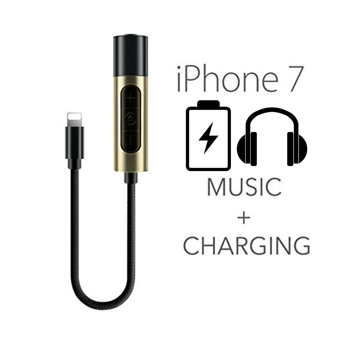 iphone 7  7 plus lightning to 3 5mm power audio charge headphone jack adapter cable