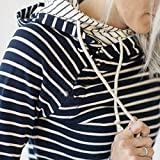 Sinfu Clearance! Womens Long Sleeve Stripe Hoodie Sweatshirt Jumper Hooded Pullover Tops Blouse (L, Navy)