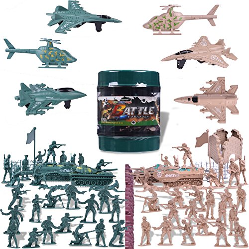 Toy Soldiers Army Military Earth War 2 WW II Plastic Army Men Figures Parties Combat Plastic Special Forces with a Map, Tanks, Planes, Flags, Soldier Figures, Fences & Accessories 232 Pcs
