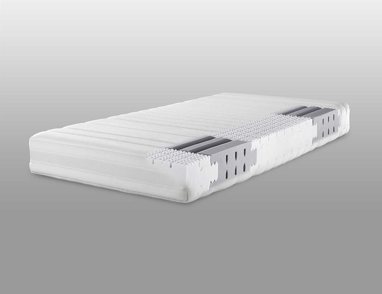 Lattoflex Matratze Compact mit Jersey IS Bezug und Klimastreifen, für Personen, die ein stabileres Liegegefühl (bis max. 110 kg) bevorzugen (120 x 200 cm)