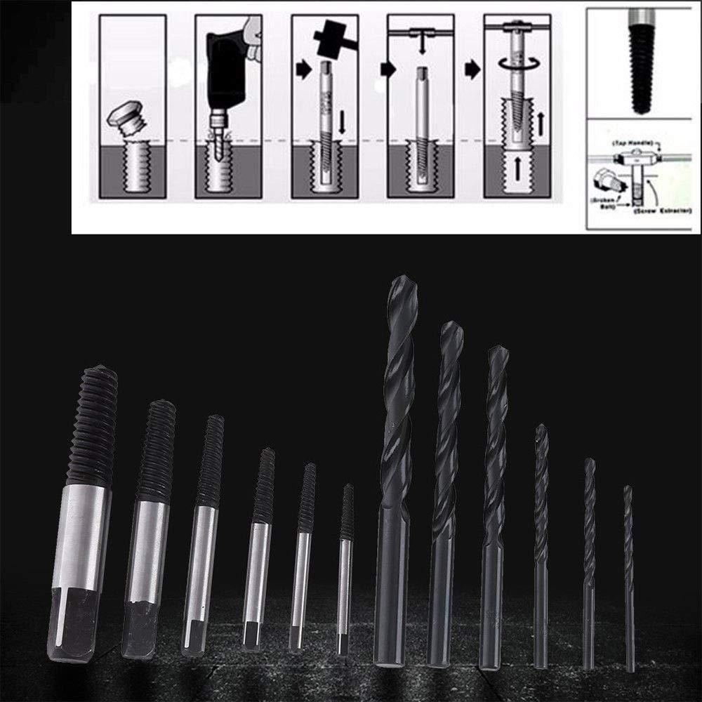 SENRISE Lot de 12 extracteurs de vis extracteur de boulon facile /à extraire avec forets en acier rapide pour enlever les vis cass/ées ou endommag/ées boulon