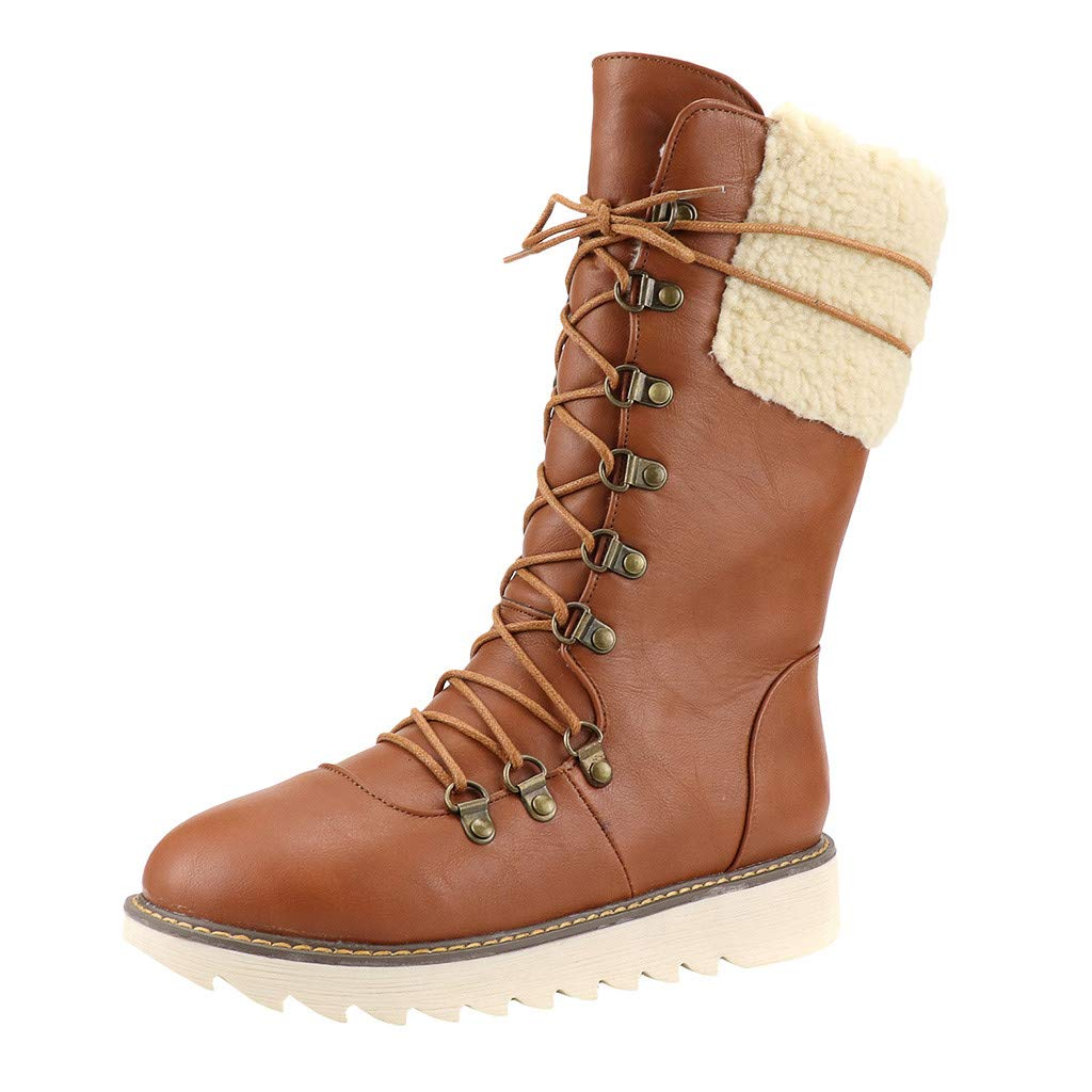 Opinionated 2019 Boots for Women Flats Winter Lace-Up Middle-Tube Warm Boots Snow Boots Large Size Cotton Shoes by Opinionated