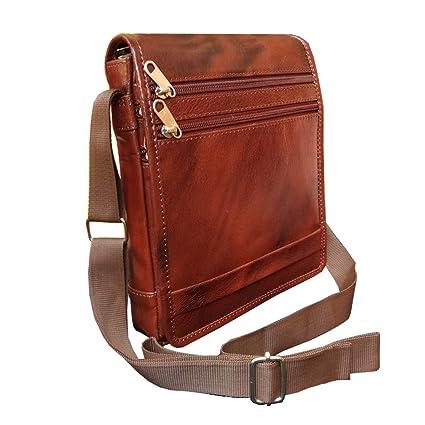 ABYS Genuine Leather Brown Unisex Neck Pouch||Shoulder Bag||Passport Holder||Messenger Bag with Adjustable Strap