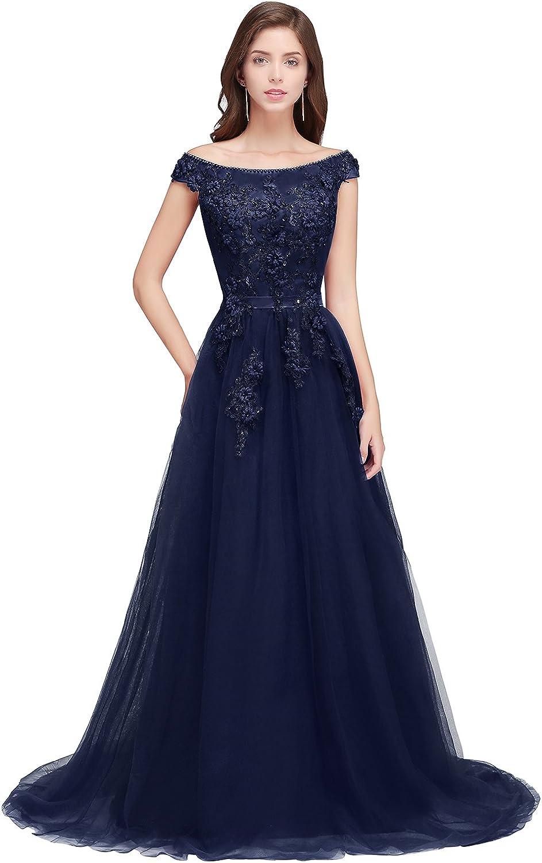 MisShow Damen Elegant Spitze Tüll Abendkleid Ballkleid Hochzeit