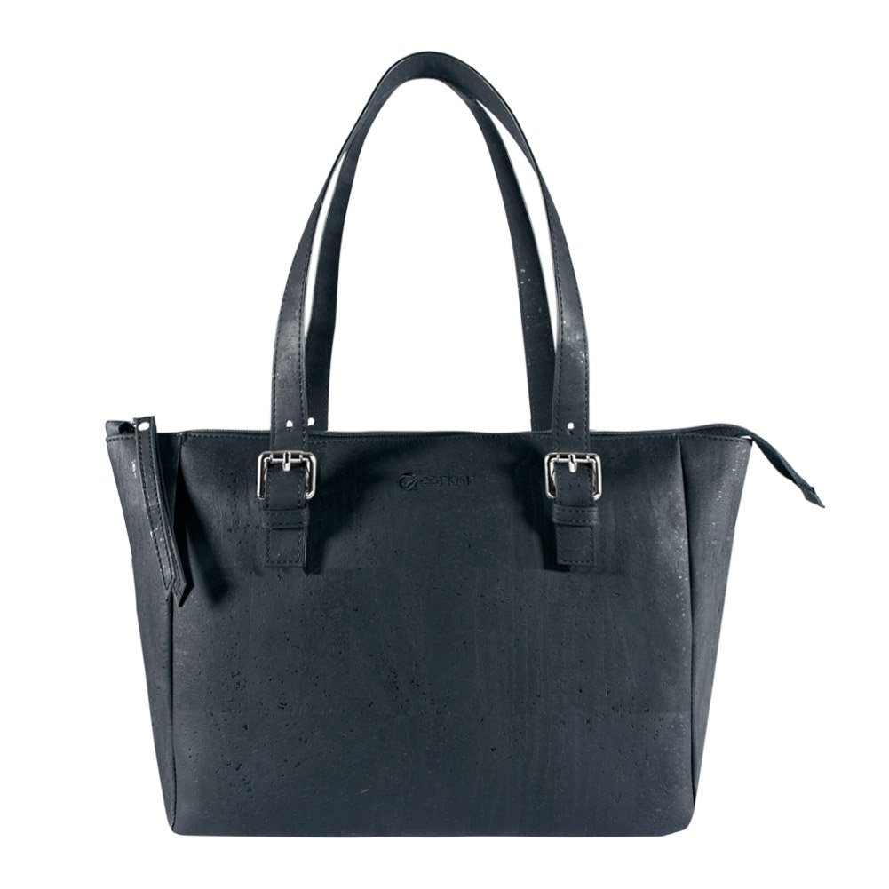 Corkor Vegan Handbag Satchel Cork Purse Top Handle Women Peta Approved Natural Black