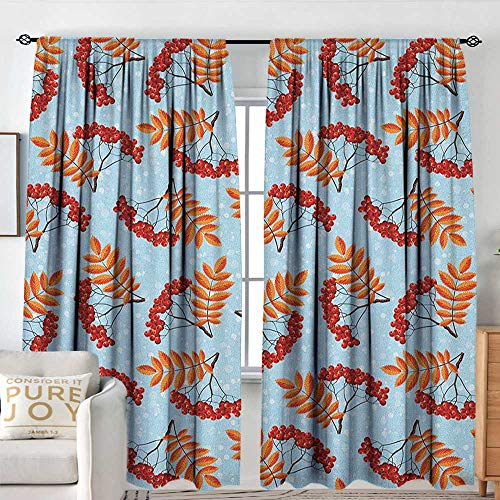 Blackout Valances for Girls Bedroom Rowan,Abstract Backdrop with Dried Leaf and Bunch of Vivid Berries Mountain Ash, Pale Blue Red Orange,Rod Pocket Curtains for Big Windows 84