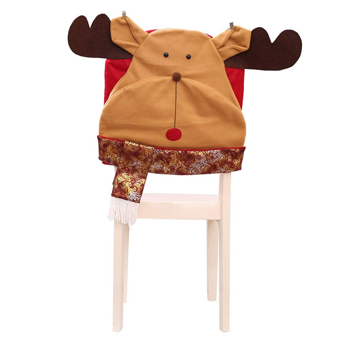 Bverionant Chair Cover Christmas Santa Claus Dining Room Xmas Holiday Decoration Ornament