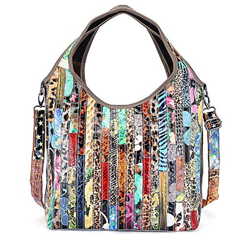 Real Handbags Color bag bag Messenger Shoulder Multicolour Totes Women's Black leather qH6wrT5q