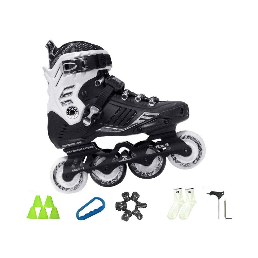 Ailj インラインスケート 大人用1列スケート 初心者ローラースケート 2色 色 : 白 サイズ さいず UK 40 25cm JP B07QCM7XKW ブラック 業界No.1 US 7.5 今だけスーパーセール限定 EU 6.5