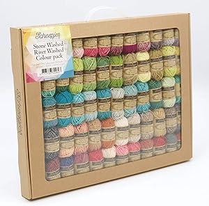 Scheepjes Stonewashed-Riverwashed Pack 58 X 10 GR, Cotton, Multi-Coloured, Gram