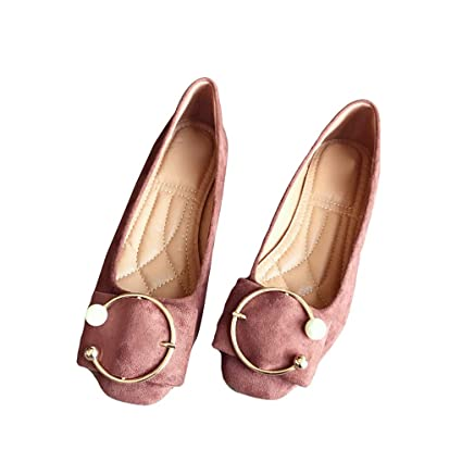 d0792cccf Amazon.com: August Jim Women's Flat Shoe Faux Suede Buckle Pearl Ballet  Dress Round Toe Flat: Sports & Outdoors