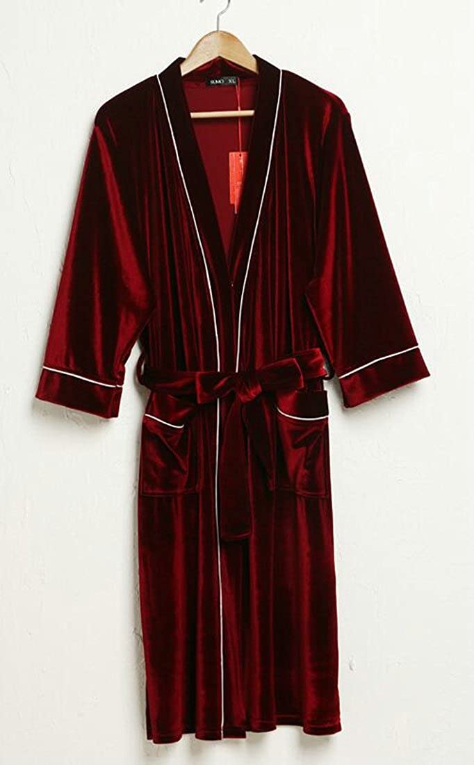 Pluszing Men Sleepwear Bathing Fashion Loungewear Velour Spa Cardigan Robes