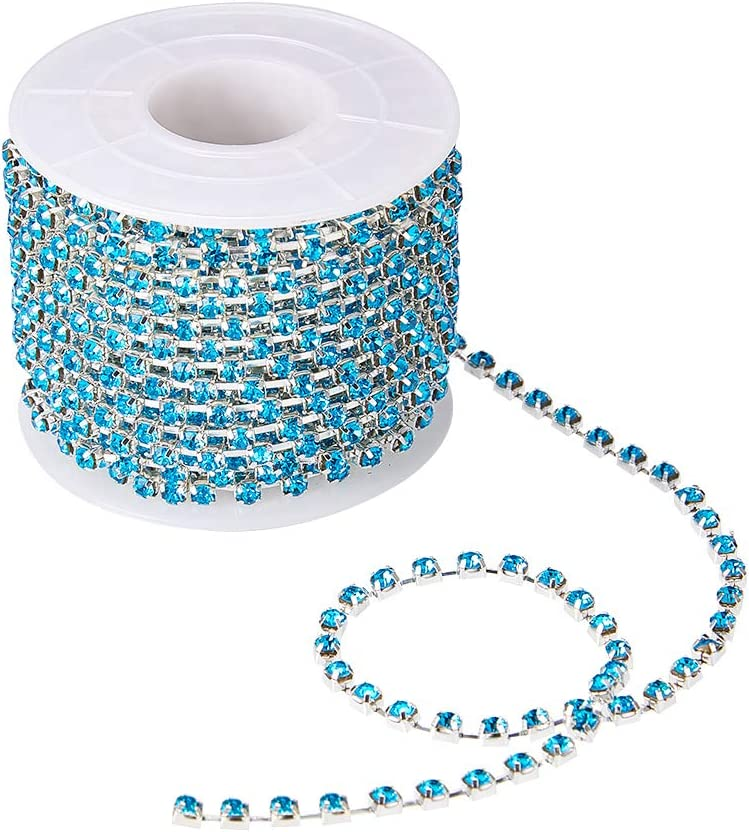 Silver Bottom 2mm BENECREAT 10 Yard Crystal Rhinestone Close Chain Clear Trimming Claw Chain Sewing Craft About 2880pcs Rhinestones Green