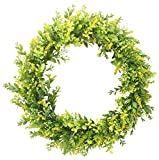 Duovlo 17.72-Inch Artificial Green Leaf Wreath Front Door Wreath Greenery Hanging Wall Window Decoration,Pack of 1 (Yellow Green)