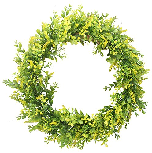 Wreath Hanging Decoration (Duovlo 17.72-Inch Artificial Green Leaf Wreath Front Door Wreath Greenery Hanging Wall Window Decoration,Pack of 1 (Yellow Green))